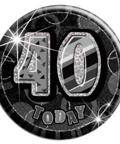 Black '40 Today' Birthday Badge