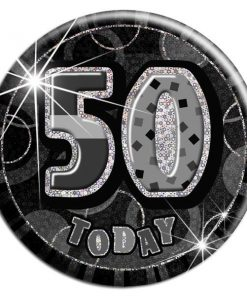 Black 50th Birthday Badge