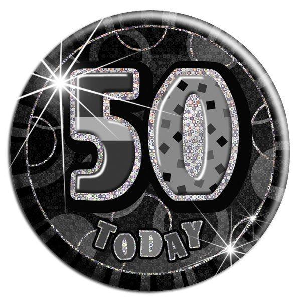 Black 50th Birthday Badge