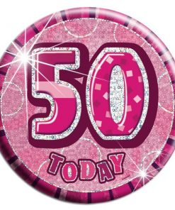 Pink 50th Birthday Badge