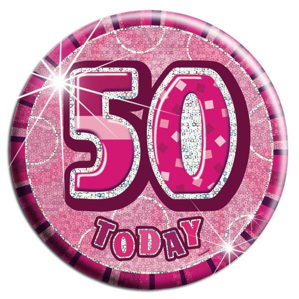 Buy Pink 50th Birthday Badge