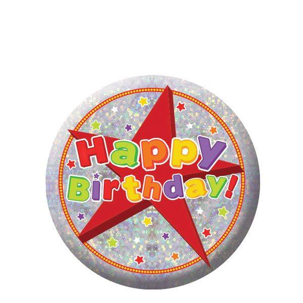 Happy Birthday Holographic Badge