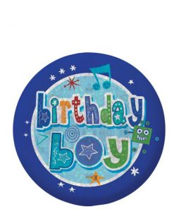 Happy Birthday Holographic Boy Badge