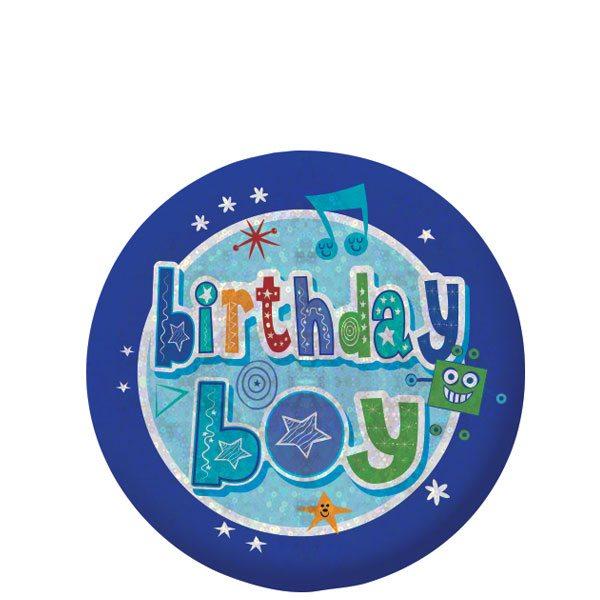 Happy Birthday Holographic Boy Badge