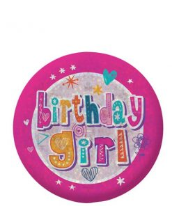 Happy Birthday Holographic Girl Badge