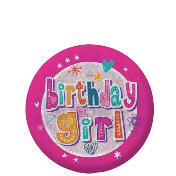 Happy Birthday Holographic Girl Badge