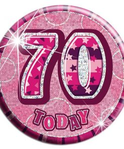 Pink 70th Birthday Badge