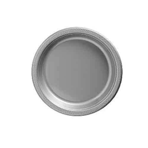 Silver Party Plastic Dessert Plates