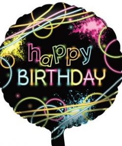 Glow In The Dark Party Happy Birthday Foil Balloon