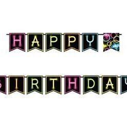 Glow In The Dark Party Happy Birthday Banner