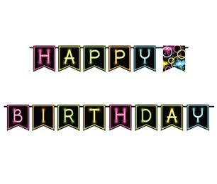 Glow In The Dark Party Happy Birthday Banner