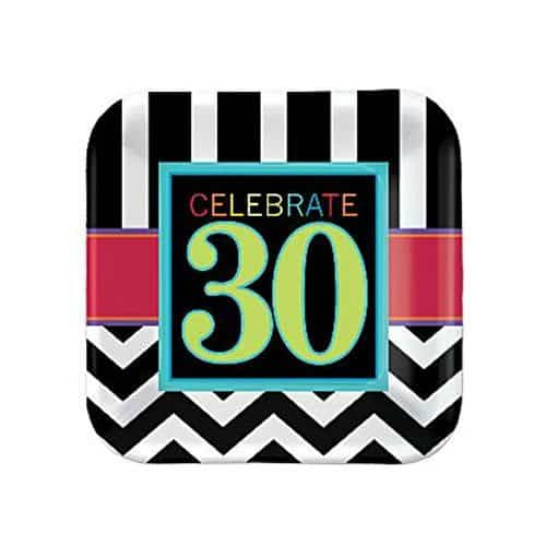30th Birthday Chevron Party Paper Dessert Plates