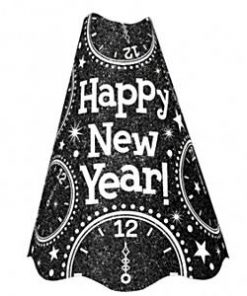 New Years Eve Black Glitter Large Cone Hat