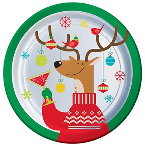 Christmas Party Paper Games: Buy Reindeer Themed Christmas Party Tableware