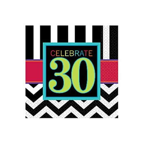 30th Birthday Chevron Party Paper Beverage Napkins