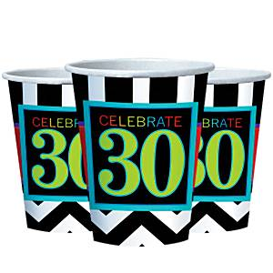 30th Birthday Chevron Party Paper Cups