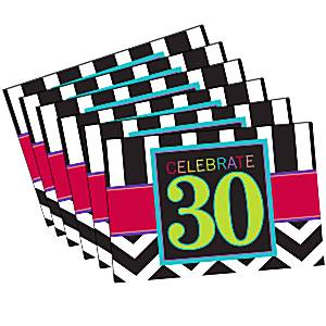30th Birthday Chevron Party Invitation Cards