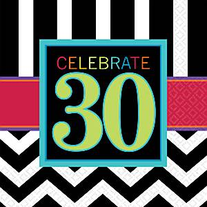 30th Birthday Chevron Party Paper Napkins