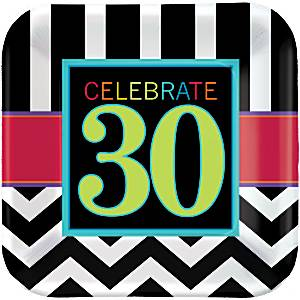 30th Birthday Chevron Party Paper Plates