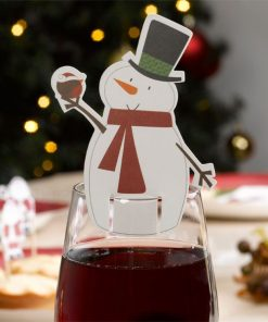 Santa and Friends Christmas Party Snowman Glass Decoration