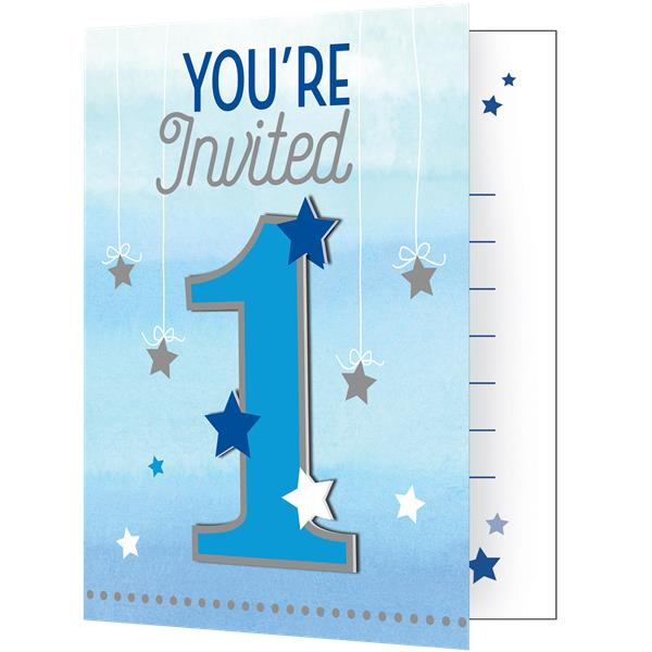 One Little Star Boy Party Party Invitation Cards