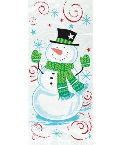 Snowman Swirl Christmas Party Cello Bags