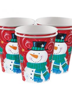 Snowman Swirl Christmas Paper Party Cups