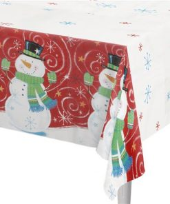 Snowman Swirl Christmas Party Plastic Tablecover