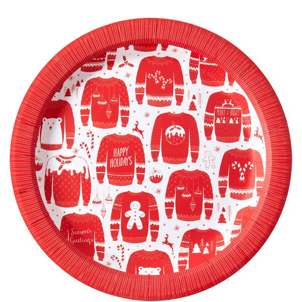 Christmas Paper Plates.Cosy Christmas Jumper Party Paper Plates 23cm Pk8