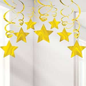 Gold Star Hanging Swirls Decoration
