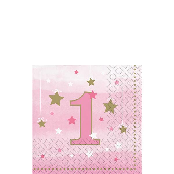 One Little Star Girl Party 1st Birthday Napkins