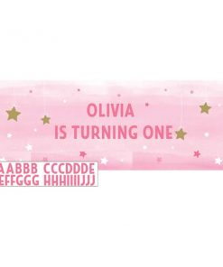One Little Star Girl Party Giant Personalisable Banner