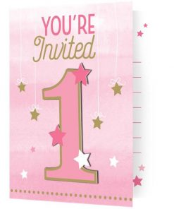 One Little Star Girl Party Invitation Cards