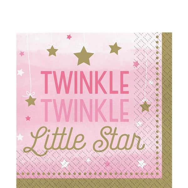 One Little Star Girl Party Paper Napkins
