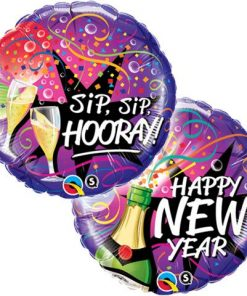 New Years Eve New Year - Sip, Sip Hooray Foil Balloon