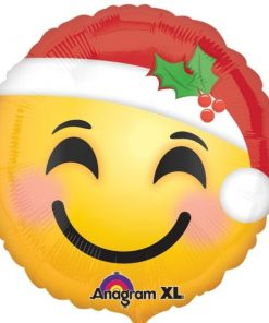 Christmas Santa Hat Smiley Face Balloon