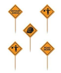 Construction Signs Cake Picks