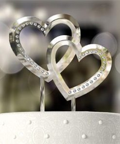Double Heart Wedding Cake Topper