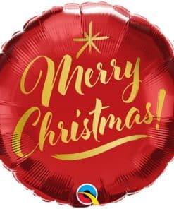 Merry Christmas Gold Script Balloon