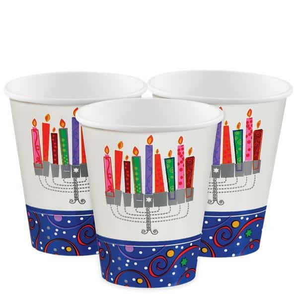Hanukkah Playful Menorah Party Paper Cups