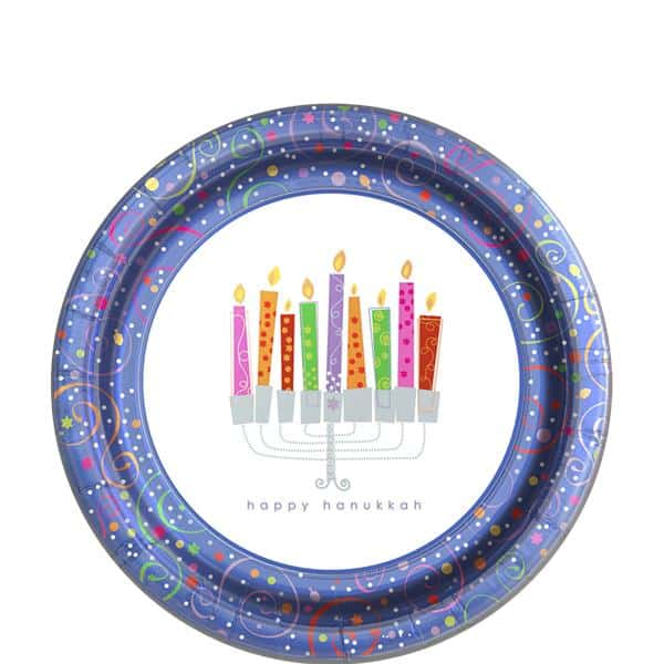Hanukkah Playful Menorah Party Dessert Plates