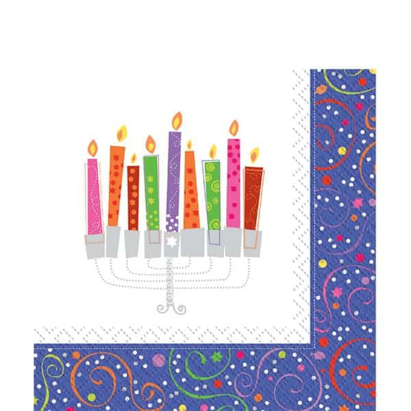 Hanukkah Playful Menorah Party Paper Napkins
