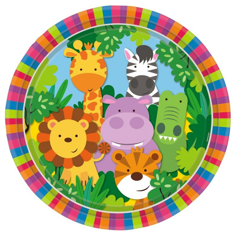 Jungle Animal Friends Party Paper Plates