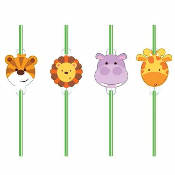 Jungle Friends Party Plastic Straws