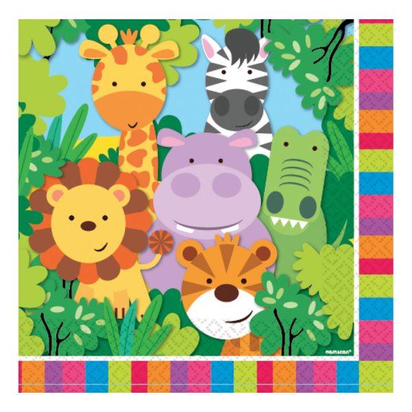 Jungle Animal Friends Party Paper Napkins