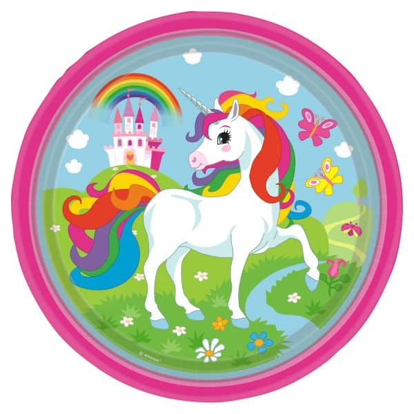 Rainbow Unicorn Party Paper Plates