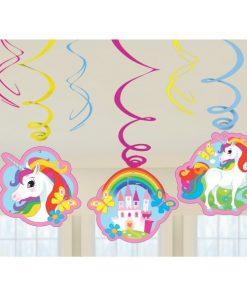Rainbow Unicorn Party Swirl Hanging Decorations