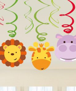Jungle Animal Friends Party Swirl Hanging Decorations