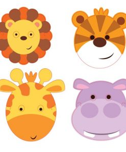 Jungle Friends Party Card Masks