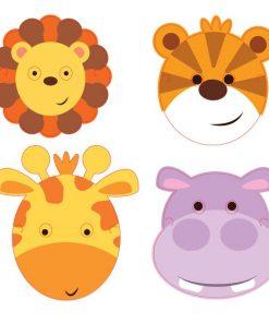 Jungle Friends Party Card Masks